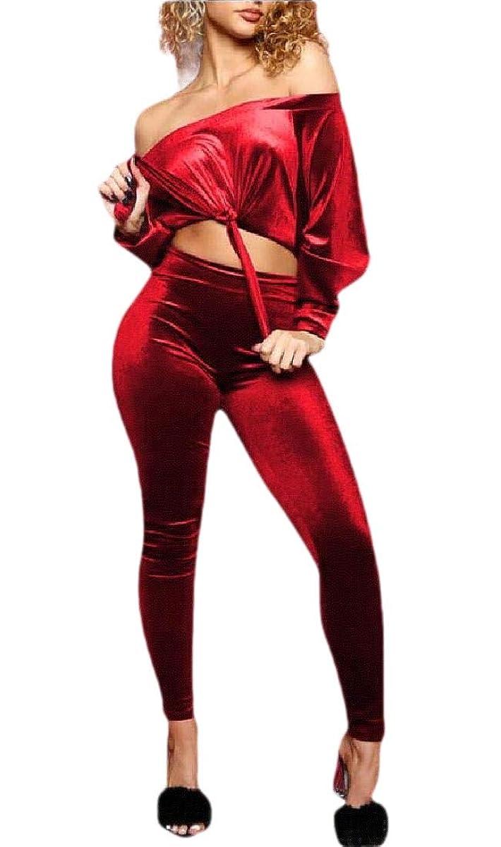 オーストラリア人航空機シャンパンWomen's Off Shoulder Velvet Sweatshirt Skinny Pant Set 2 Piece Tracksuit