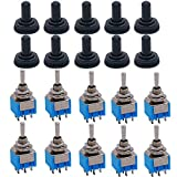 Taiss / 10 pièces AC 125V 6A ampères ON-OFF-ON 3 positions 6 Pin DPDT interrupteur à bascule + 10 pièces cap étanche MTS-203+MZ