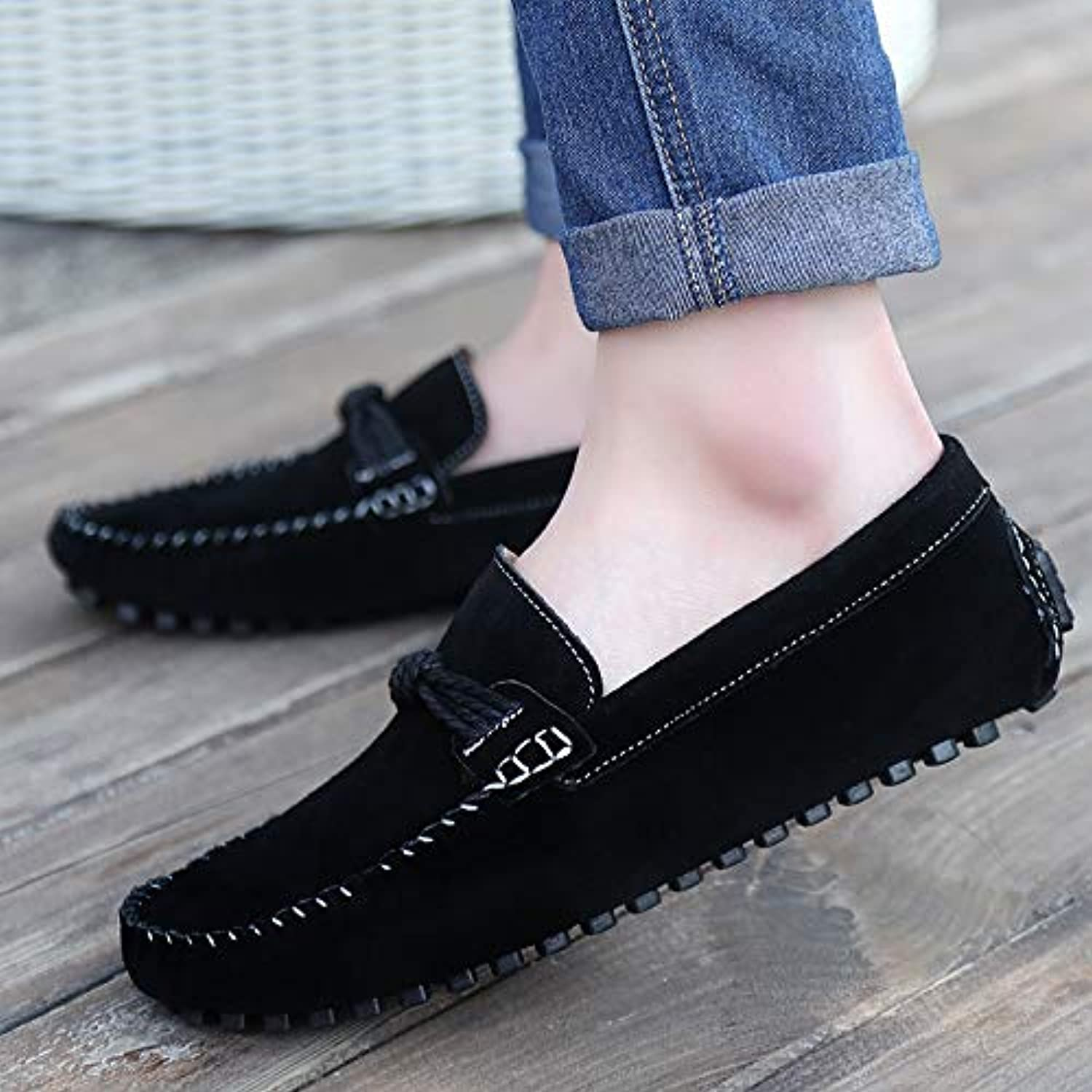 LOVDRAM Men's shoes Spring And Autumn New Men'S Daily Casual shoes Wild Leather Peas shoes Men'S Scrub Men'S shoes Driving shoes Fashion