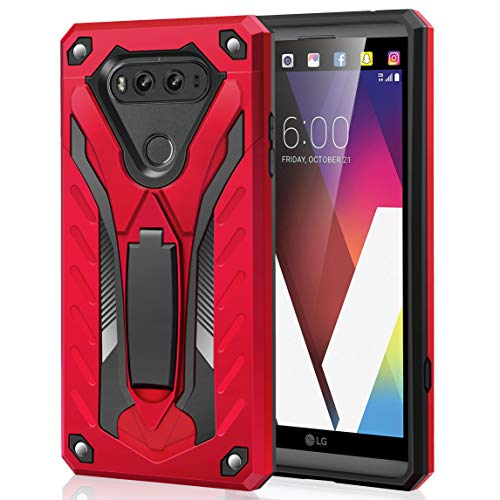 AFARER Case Compatible with LG V20 5.7 inch, Military Grade 12ft Drop Tested Protective Case with Kickstand,Military Armor Dual Layer Protective Cover - Red