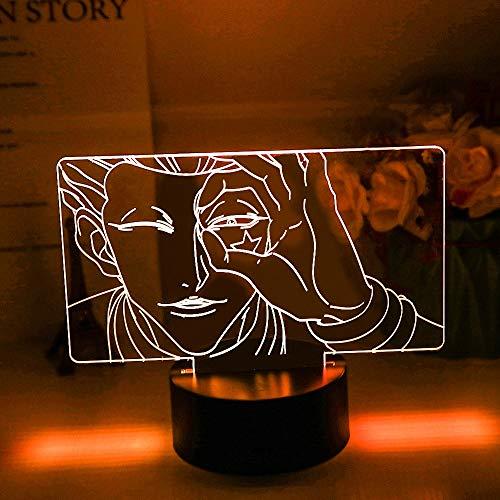 Lámpara 3D Hisoka Cara Led Cambiante de Color Ambiente para Dormitorio de Niños Decoración Luz de Noche Niño Anime Hunter X Regalo