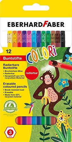 Eberhard Faber 514817 - Colori radierbare Buntstifte, hexagonale Form, in 12 Farben, im Kartonetui, zum Malen, Illustrieren und Zeichnen