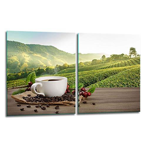 TMK | Juego de 2 cubiertas para vitrocerámica de 40 x 52 cm, protección contra salpicaduras, placa de cristal, cubierta de vitrocerámica, tabla de cortar, color café