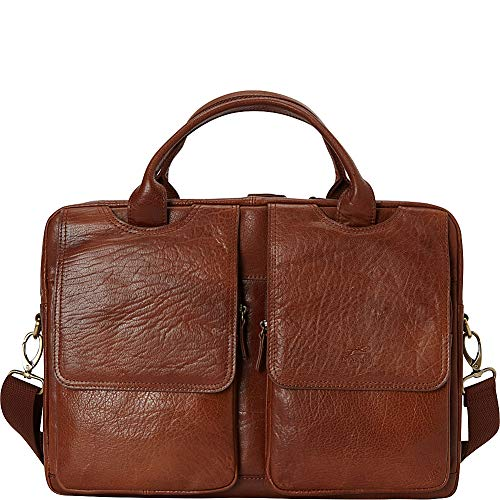 Mancini Leather Goods Double Compartment Briefcase for 15.6' Laptop and Tablet