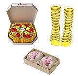 Pack de 4 pares calcetines Drôle – Calcetines talla única para mujer, hombre, novedad, menú, calcetines sanitarios de sushi y aguacate, pack completo, regalo creativo Paquete de pizza Talla única