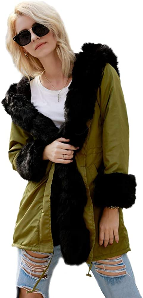 BOZEVON Women Winter Hooded Parka Jacket - Casual Trench Fur Collar Hooded Coat