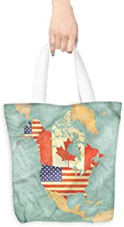 Washable Grocery Tote with Pouch,World Map States of Canada Theme,Canvas Grocery Shopping Bags,16.5