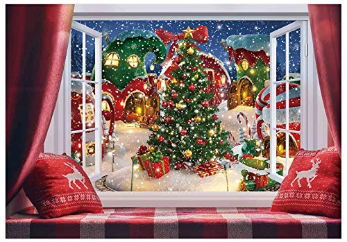 Funnytree 7x5ft Christmas Backdrop for Photography 2021 Winter Snow Xmas Window Town Tree Background Holiday Photobooth Portrait Wall Party Banner Festival Photo Studio Mini Session Props