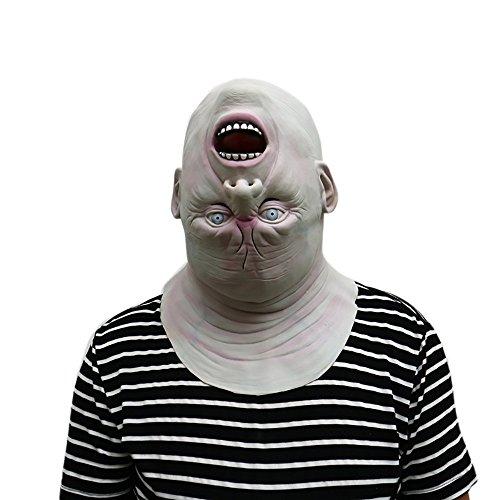 Latex Halloween Maske Creepy Scary Reverse Kopfform Halloween Cosplay Kostüm Maske für Erwachsene Party Dekoration Requisiten