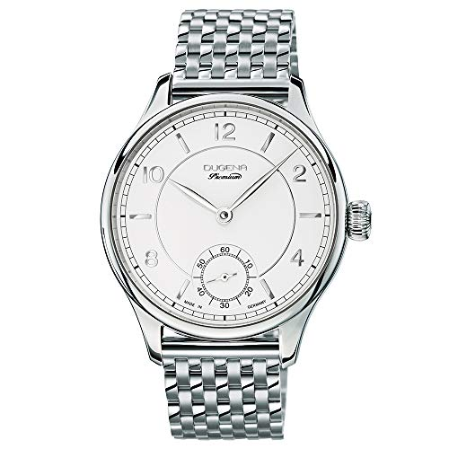 DUGENA Herren-Armbanduhr 7090114 Epsilon 7, Handaufzug, Silber-weißes Zifferblatt, Edelstahlgehäuse, Saphirglas, Edelstahlarmband, Doppelfaltdrückerschließe, 5 bar