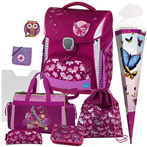 Butterfly - Schmetterling - Schneiders LED-TOOLBAG Plus mit LED-LEUCHTSYSTEM Schulranzen-Set 7tlg. mit Sporttasche und SCHULTÜTE - BRUSTBEUTEL GRATIS !