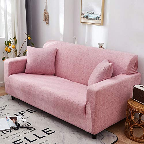 Sujete Bien la Funda de sofá Antideslizante, la Funda de sofá elástica de Terciopelo ártico, la Funda de sofá a Prueba de Polvo, para sofá de Tres Personas 190-230 cm a Rayas Rosa
