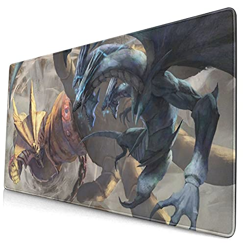 Yu-Gi-Oh! Yugioh Exodia Vs Blue-Eyes White Dragon Large Gaming Mouse Pad XXL Extended Mat Desk Pad Mousepad with Non-Slip Computers Laptop Office&Home 750×400×3mm (29.5×15.8×0.12 Inch)