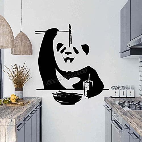 Pegatinas de pared Panda Bamboo blanco y negro Huo-hu Bamboo Bear Wall Sticker Baby Kids Room Decor Vinilo calcomanía 47 x 43 cm
