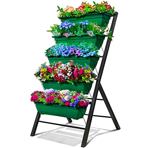 4Ft Vertical Raised Garden Bed - 5 Tier Food Safe Planter Box for Outdoor and Indoor Gardening Perfect to Grow Your Herb Vegetables Flowers on Your Patio Balcony Greenhouse Garden (Ivy Green, 1-Pack)