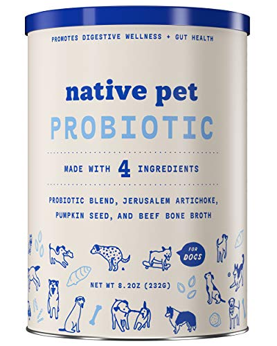 Native Pet Probiotic for Dogs; with Probiotics + Prebiotics + Beef Bone Broth; Dog Diarrhea + Upset Stomach + Gas + Bloating + Coprophagia Treatment for Dogs; Easy Canine Probiotic Powder for Dogs!