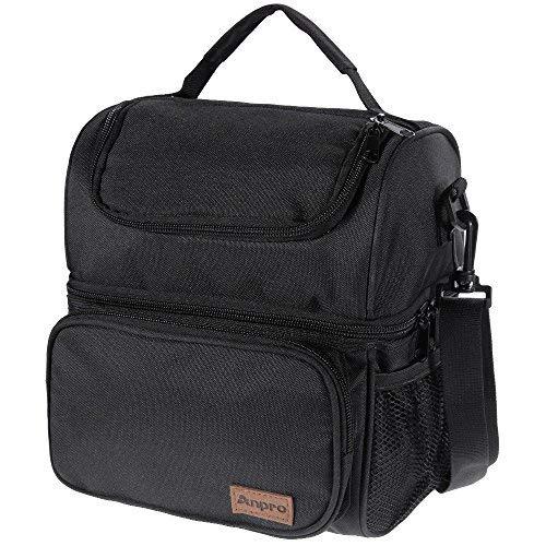 Anpro Lunchtasche – Kühltasche für Mittagessen, Lunchtasche für Erwachsene mit verstellbarem Schultergurt, zum Tragen von Lunchbox – Lunch-Kit für Camping, Angeln, Grillen, Schwarz (24 x 20 x 14,5 cm)