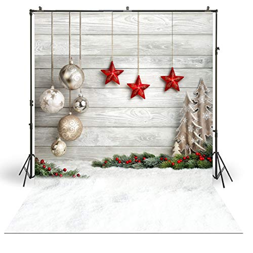 FiVan 5x7ft Photography Backdrop for Xmas Portaits Pictures Studio Photo Background Vinyl Backdrop for Christmas Themed Home Decoration XT-4338
