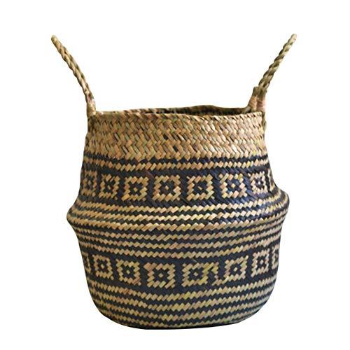 Lovair Foldable Handmade Folding Wicker Grass Weaving Chrysanthemum Black Plaids Pattern Storage Basket for Storage Plant Pot, Storing Cosmetics, Laundry Room