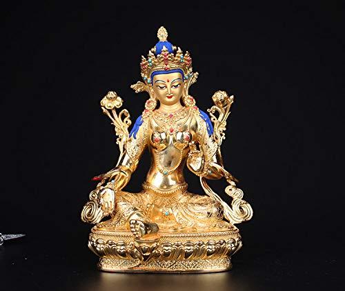 ZFLL Buddha Reines Kupfer, tibetischer Buddhismus, grüne Tara-Statue, Bronzeskulptur Buddhas, buddhistische Figur, Bodhisattva Tara-Figur ~