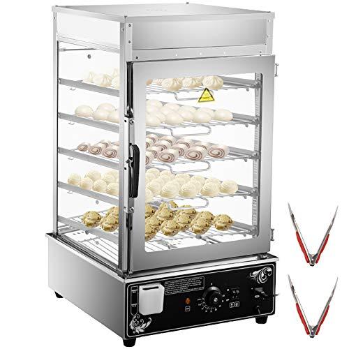 VEVOR 110V Commercial Bun Steamer, 5-Layer Restaurant Bun Warmer, Electric Food Steamer with 11.8x11.8-Inch Racks, 30-110℃/86-230℉ Bun Bread Steamer Machine, 900W Hot Dog Steamer Warmer, for Buffet