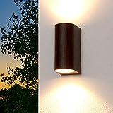 Wandaußenleuchte braun Up Down'Aalborg' GU10 IP44 Außen-Leuchte Wand-Lampe outdoor Wassergeschützt für Garten Hof Beleuchtung