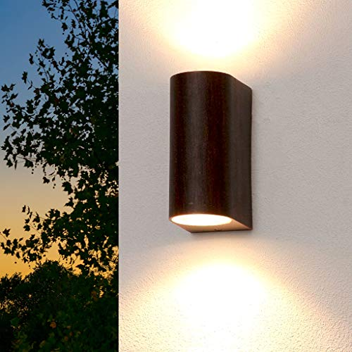 """Lámpara de pared exterior, color marrón, Up & Down""""Aalborg"""" / 2x GU10 arriba abajo 230V, IP44 / lámpara de pared exterior, lámpara outdoor resistente al agua, iluminación para jardín y patio"""