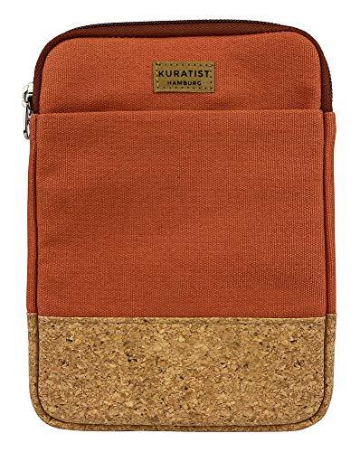 Kuratist Funda para e-reader – hecha a mano de lona de algodón 100% y protección de bordes de corcho, (100% vegano) (Cinnamon, 8 pulgadas)