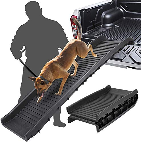 SAVFOX Large Dogs Portable Lightweight Folding Pet Ramp-Great for Cars, Trucks and SUV - Durable Pet Ramp Supports Up to 150 lb Length Ramp, Patented Compact Easy-Fold Design (Black)