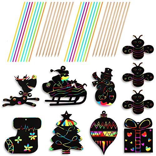 WTSHOP 70PCS Christmas Scratch Ornaments,Include Snowman, Christmas Tree,Reindeer and so on,Craft Kit Toys(Including red Rope)