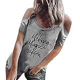 MOMOXI Tops para Mujer, señoras de Las Mujeres Atractivas Ocasionales de impresión Floral Camiseta de Manga Corta Blusa Manga Larga Originales Mujer Originales Talla Grande Camisetas Tallas Grandes