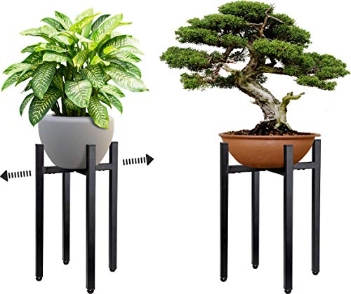 Planteko Plant Stand - Indoor Plant Stands in Mid Century Design - Adjustable Metal Design, Stylish and No Wobble - Plant Holder Fits Pots Sizes 8 - 12 Inches (Pot Not Included)