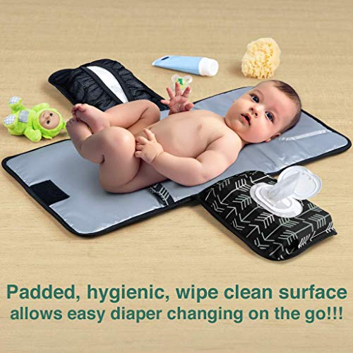 Baby Changing Pad by Lil Fox. Portable Changing Pad for Baby Diaper Bag or Changing Table Pad. One-Hand Diaper Change Pad. Baby Shower Gifts, Newborn Baby Essentials, Unisex Baby Stuff (Green Arrows)