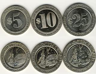1987 - Set of 3 Vegas World $5-$10-$25 Casino Tokens Las Vegas, Nevada