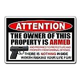 H421ld Pegatina de advertencia armada de propietario 2ª enmienda 2A pistola arma arma de fuego pistola seguridad casa puerta coche vehículo ventana parachoques vinilo adhesivo gráfico
