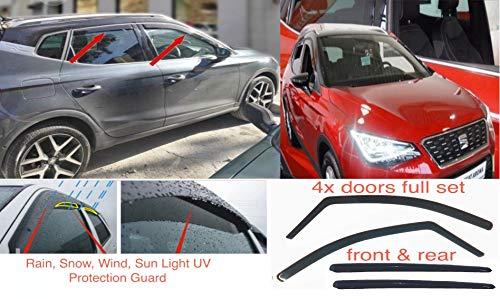 4 x Windabweiser kompatibel mit Seat Arona 2017 2018 2019 2020 Acrylglas PMMA Tür Fenster in Kanal Visiere Regen Schnee Sonne Wetterschutz