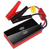 Yajun Arrancador De Coches Starter Booster Cargador De Batería Power Bank 12V 600A Cargador De Teléfono Inalámbrico Linterna LED Portátil,Red-Black