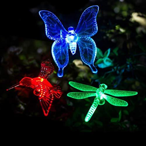 GIGALUMI LED Solar Gartenleuchte Solarlampe für Außen 3 Stück Solarleuchten mit Erdspieß Wasserdicht Mehrfarbig Schmetterling für Weg, Hof, Rasen, Terrasse