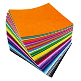 flic-flac 48PCS 8 x 8 inches (20 x 20cm) Assorted Color Felt Fabric Sheets Patchwork Sewing DIY Craft 1mm Thick … (20cm 20cm, 48pcs)
