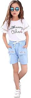 MV Niños Verano Modelos Niñas Algodón Pantalones Cortos Trajes Niños Dos Piezas Traje