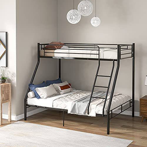 WGYDREAM Black Metal Bunk Bed Frame 3ft Single & 4ft6 Double Bed 3 Sleeper Childrenroom Bedstead Base For Adults Kids Teenagers