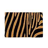 D,casa - Felpudo Animal Print Negro exótico de Fibra de Coco, de 60x40 cm
