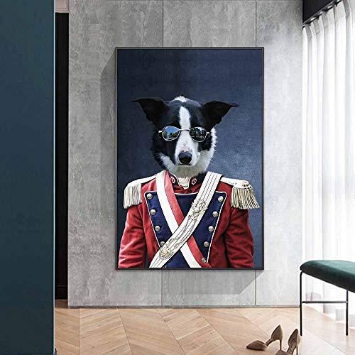 wZUN Gatos con Uniformes Militares están pintando Carteles de Arte e Impresiones en el Lienzo de la Pared. Imágenes de Lienzo de Arte Animal Interesante. Salón 50x70cm