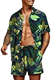 COOFANDY Men's Hawaiian Short Sleeve Shirt Aloha Print Casual Beach Shirts Navy Blue