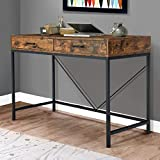 MELLCOM Industrial Computer Desk, Writing Study Table with 2 Drawers,Wood Desktop Black Steel Frame, Notebook PC Workstation,for Home,Office