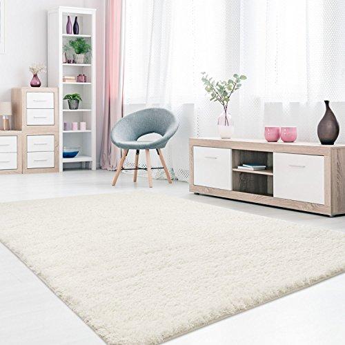 MyShop24h Teppich Wohnzimmer Weiß Hochflor Shaggy 120x170cm Oeko-Tex Standard 100% Micro-Polyester Einfarbig Allergiker geeignet