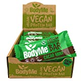 BodyMe Organic Vegan Protein Bar | Raw Cacao Mint | Box of 12 x 60g | With 3 Plant Proteins from BodyMe
