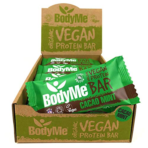 BodyMe Organic Vegan Protein Bar | Raw Cacao Mint | 12 x 60g Vegan Protein Snack Bars | Gluten Free | 16g Complete Protein | 3 Plant Proteins All Essential Amino Acids | High Protein Vegan Snacks