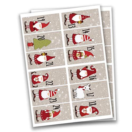 24 Pegatinas de números para Calendario de Adviento Pegatinas cuadradas - Papá Noel No 62 - para Crear y Decorar