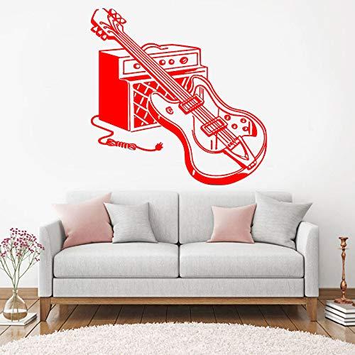 guijiumai Rock and Roll Wandtattoo Musikliebhaber Kopfhörer Gitarre Wandaufkleber Teen Jungen Mädchen Zimmer DIY Party Decor Wandbild Hinweis Rekord D 1 85X85 cm